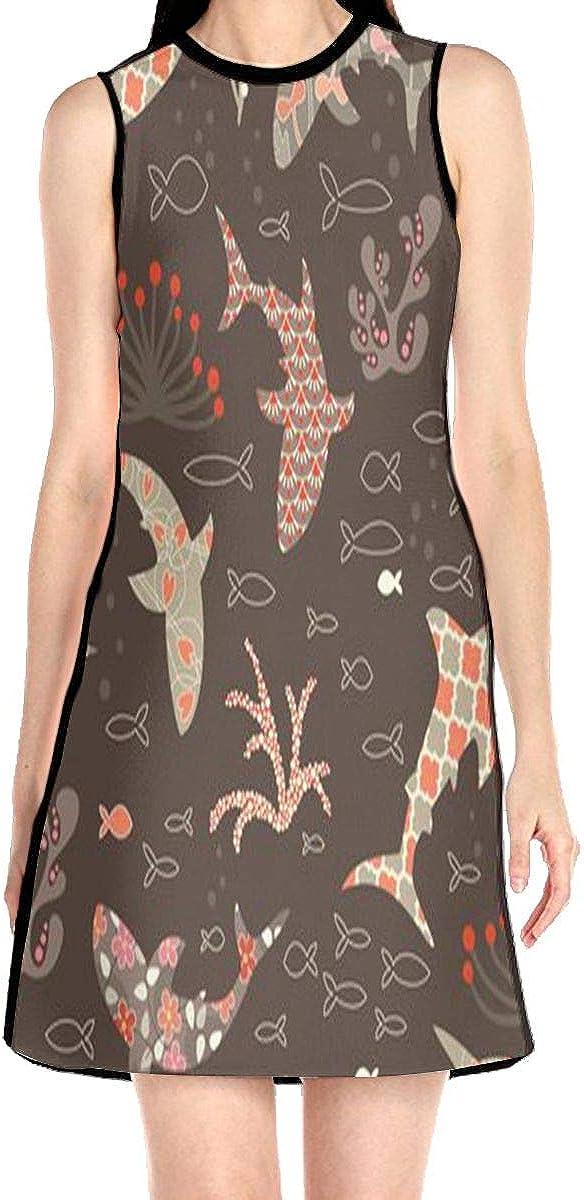 Shark Head Killer Women's Sleeveless Dress Casual Slim A-Line Dress Tank Dresses