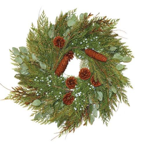 Good Tidings 2332 Wreath Mixed Cedar and Juniper with Cones, 24-Inch