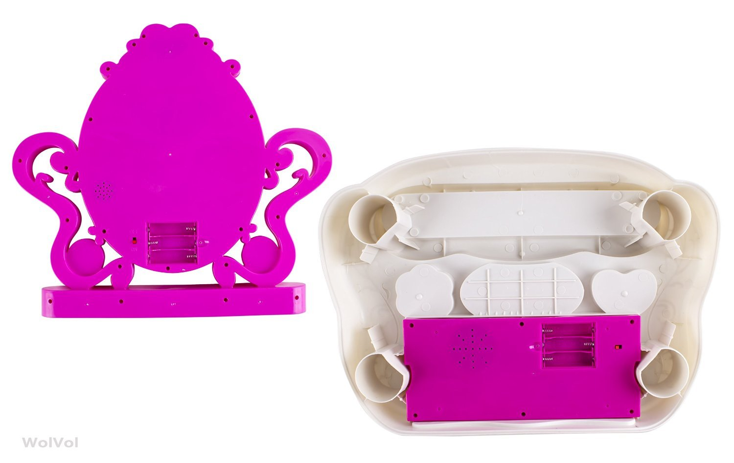 WolVol 2-in-1 Vanity Set Girls Toy Makeup Accessories with Working Piano & Flashing Lights, Big Mirror, Cosmetics, Working Hair Dryer - Glowing Princess Will Appear When Pressing The Mirror-Button by WolVol (Image #6)