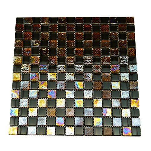 URBN Contemporary Black and Orange Chessboard Design Iridescent Glass Mosaic Tile in 5/8 Inch Thick Profile for Kitchen and Bath - Sample Tile (3-1/2 inches x 3-1/2 inches, 0.08 SQ FT)
