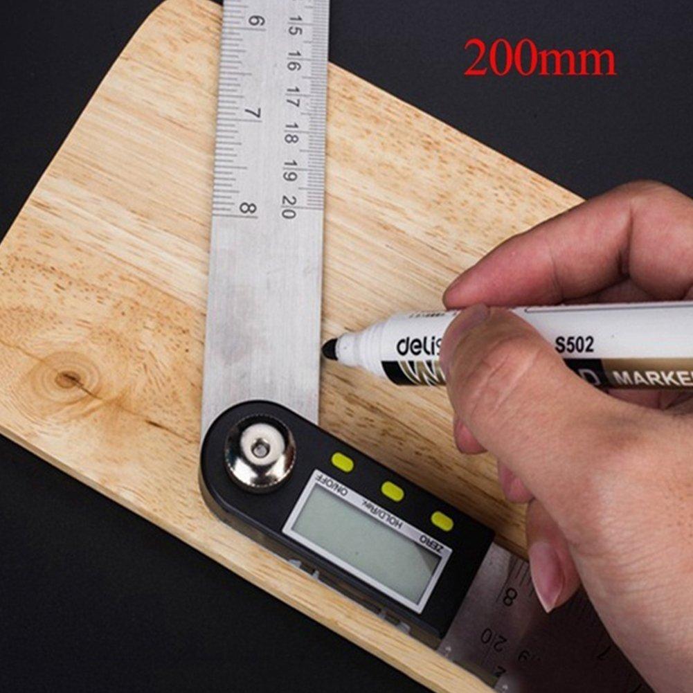 Digital Winkelmesser + Lineal mit LCD-Display, edelstahl-elektronischer Neigungsmesser Winkelmesser Meter angle-izer Goniometer (Verlaufsfilter) VOOYE