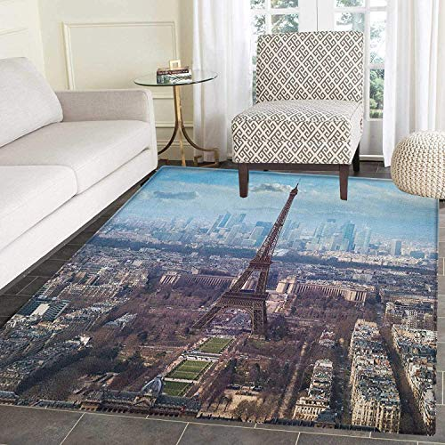 Boulevard Dining Room - Eiffel Tower Area Rug Carpet Aerial View of Eiffel Tower Clear Day Boulevard Busy Town Park Skyscrape Living Dining Room Bedroom Hallway Office Carpet 4'x5' Pale Blue Brown