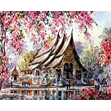 Shukqueen Diy Oil Painting, Adult's Paint by Number Kits, Acrylic Painting Spring Thai Temple 16X20 Inch (Frameless)