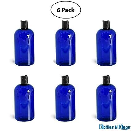 8 oz Azul Cobalto Pet Plástico Botella De Boston con disco negro tapa (6 Pk