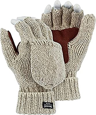 Majestic 3422P Two-Ply Ragg Wool Fingerless/Half Finger Thinsulate (40g) Lined Winter Work Gloves Mittens