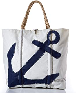 product image for Sea Bags Recycled Sail Cloth Navy Anchor Tote X-Large