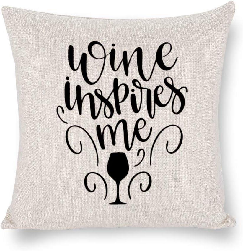 BYRON HOYLE Wine Inspires Me Cushion Cover,Wine Bottle Throw Pillow Cover,Rustic Linen Decorative Lumbar Pillowcase for Chair Room Sofa car,Home Decor,Housewarming Gift 4545cm
