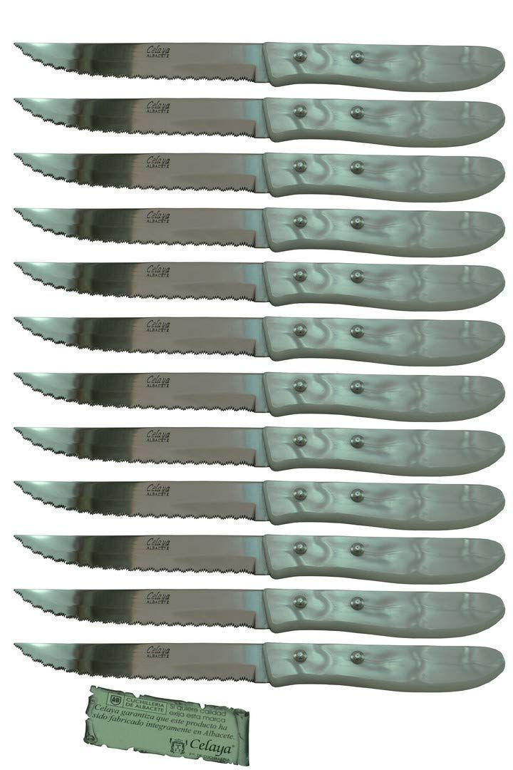 Cuchillos de mesa Celaya Plástico Nácar Blanco Sierra Lote 12 Uds ...
