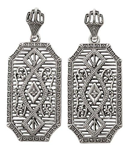 Antique Style Filigree .02cttw Diamond Dangle Earrings in Sterling Silver