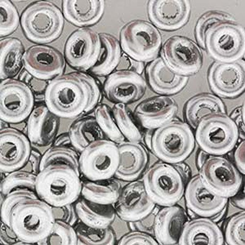 (Aluminum Silver O-beads 3.8x1mm (Czech Glass Mini Flattened Ring) Sold in Approx 8.1 Gram Tube)