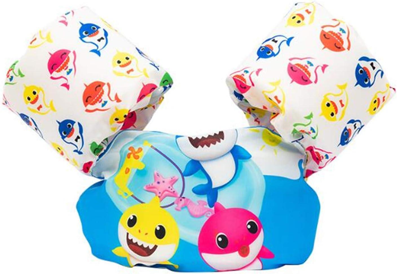 Baby Shark Chalecos de natación para niños pequeños y niños de 20 a 50 libras, flotador para piscina infantil con alas de brazo, puddle de mar y playa Tiburón a
