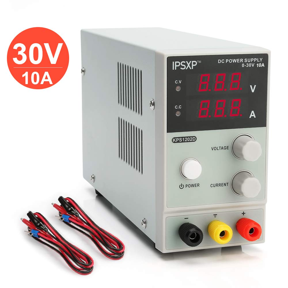 Variable DC Power Supply, IPSXP KPS1203D Adjustable Switching Regulated Power Supply Digital, 0-30 V 0-10 A with Alligator Leads US Power Cord by IPSXP (Image #1)