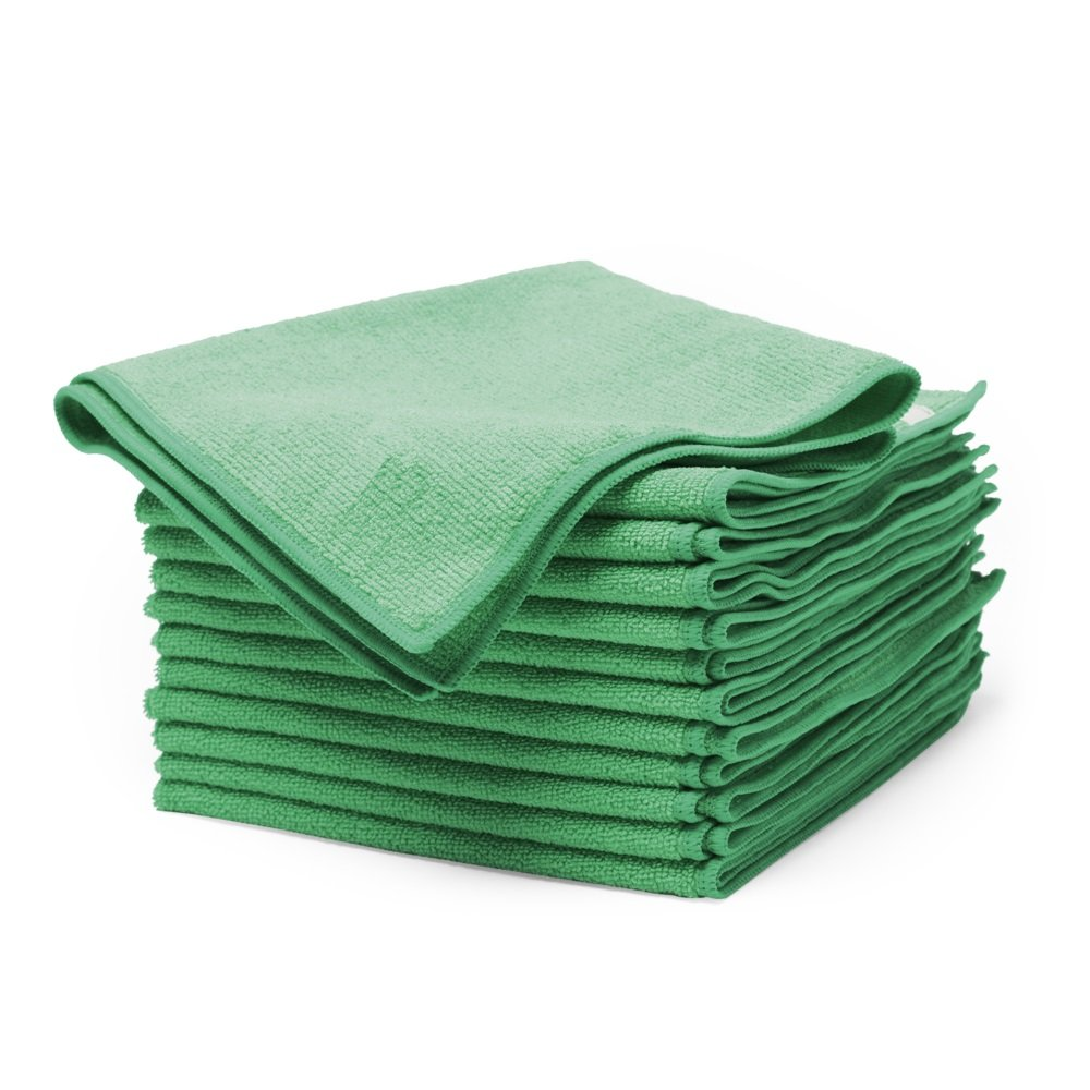 "Buff Green Microfiber Cleaning Cloths | Best Towels for Dusting, Scrubbing, Polishing, Absorbing | Large 16"" x 16"" Pro Multi-Surface Microfiber Towel - 12 Pack"