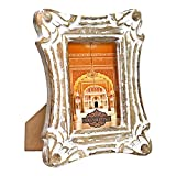 Indian Heritage Wooden Photo Frame 4x6 Mango Wood Carving Design with White Distress Finish