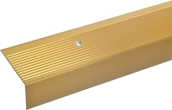 acerto 34010 Perfil angular de escalera de aluminio - 100cm 28x50mm dorado * Antideslizante * Robusto * Fácil instalación | Perfil de borde de escalera perfil de peldaño de escalera de aluminio: Amazon.es: Bricolaje y herramientas