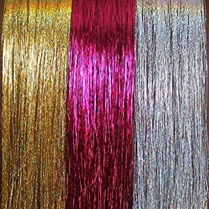 """20"""" Hair Tinsel 300 Strands Three Amazing Colors (Sparkling Silver, Sparkling Gold, Shiny Hot Pink)"""