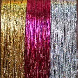 "20"" Hair Tinsel 300 Strands Three Amazing Colors (Sparkling Silver, Sparkling Gold, Shiny Hot Pink)"
