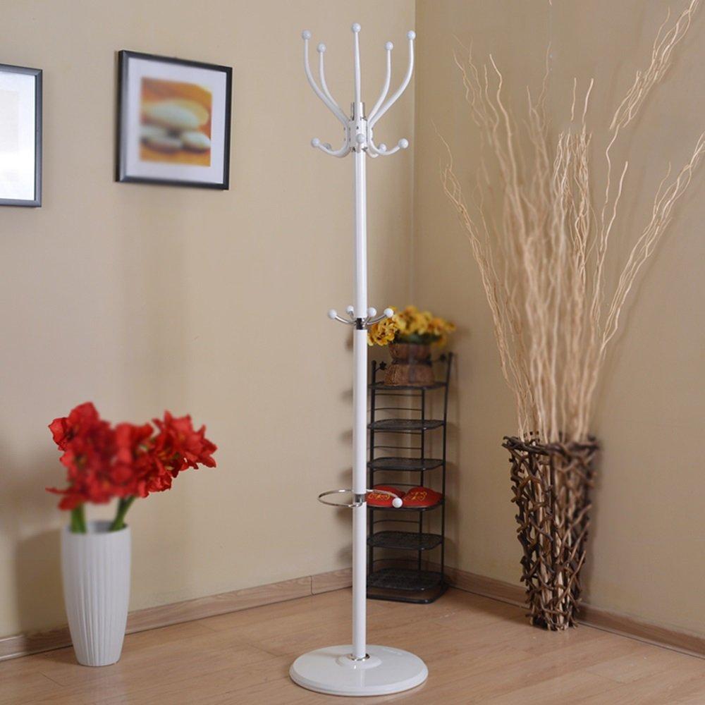 Coat Rack Floor / Indoor Bedroom Metal Hanger / Iron Clothes Rack / Coat Rack (180 35 40cm)Black walnut white color optional ( Color : White )