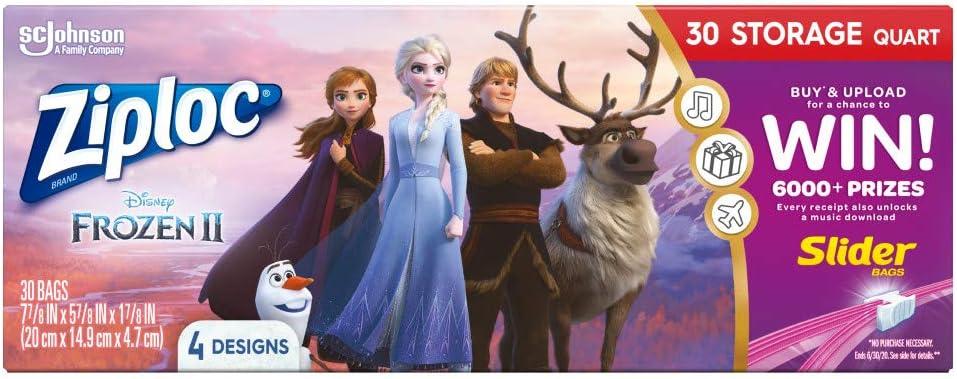 Ziploc Storage Slider Bags, Quart, 30 Count, Featuring Disney's Frozen