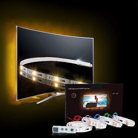 LED Strip,TV LED Hintergrundbeleuchtung RGB 2M/6.56ft LED Streifen Für 40 bis 60 HDTV USB LED TV Beleuchtung mit 24keys Remot