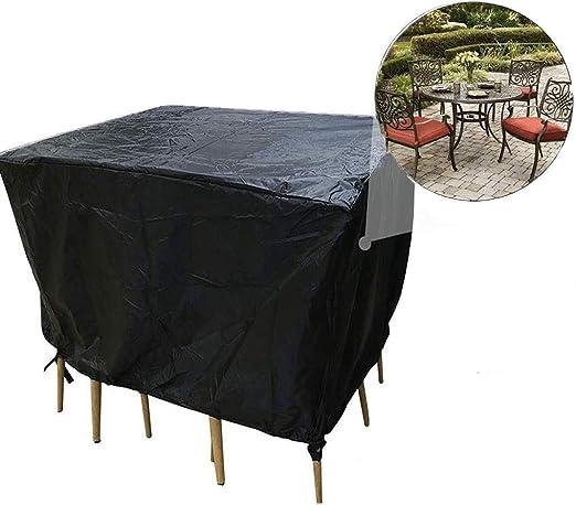 F-cover Cubierta Muebles De Jardín, Que Cubre El Polvo Impermeable Patio Mesa De Sofá Reclinable 210D Oxford Tela Negro (Size : 135x135x74cm): Amazon.es: Jardín