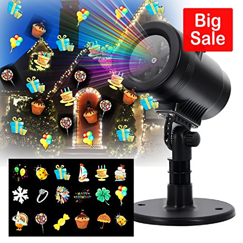 LED Projector Light- Blinbling 2017 NEWEST Outdoor LED Lights Projector with 14 Festive Lights Designs for Halloween, Christmas, Birthday, Holiday Landscape Decoration, Waterproof for $<!--$16.99-->