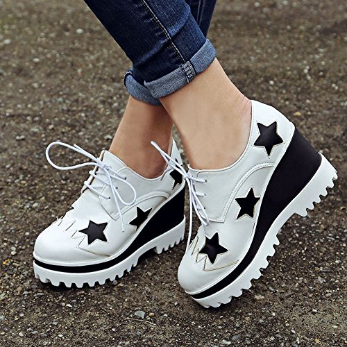 Latasa Damesmode Ster Lace-up Platform Wedge Oxford Schoenen Wit
