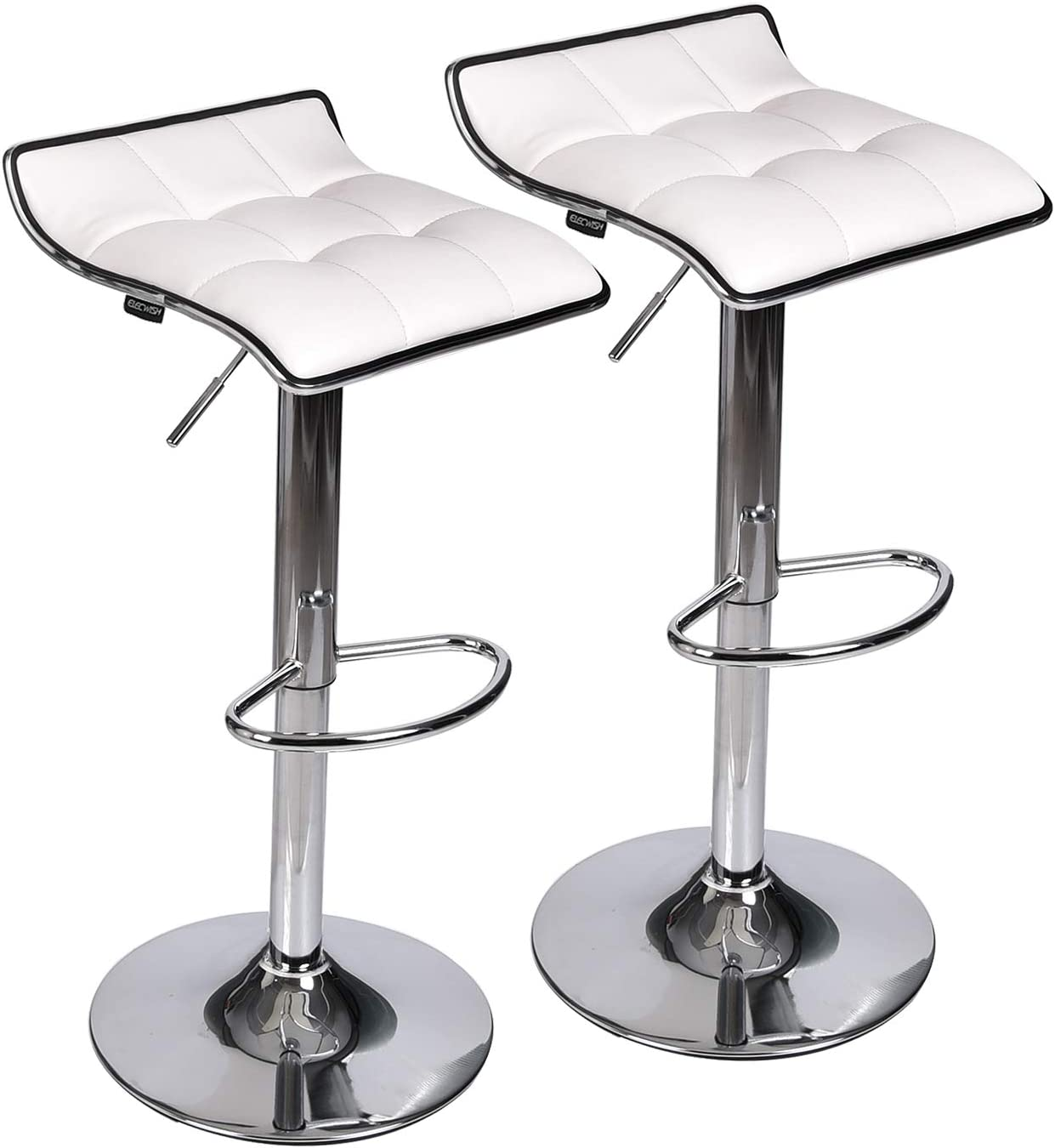Set of 2 Adjustable Swivel Gas Lift Bar Stools, PU Leather with Chrome Base, White