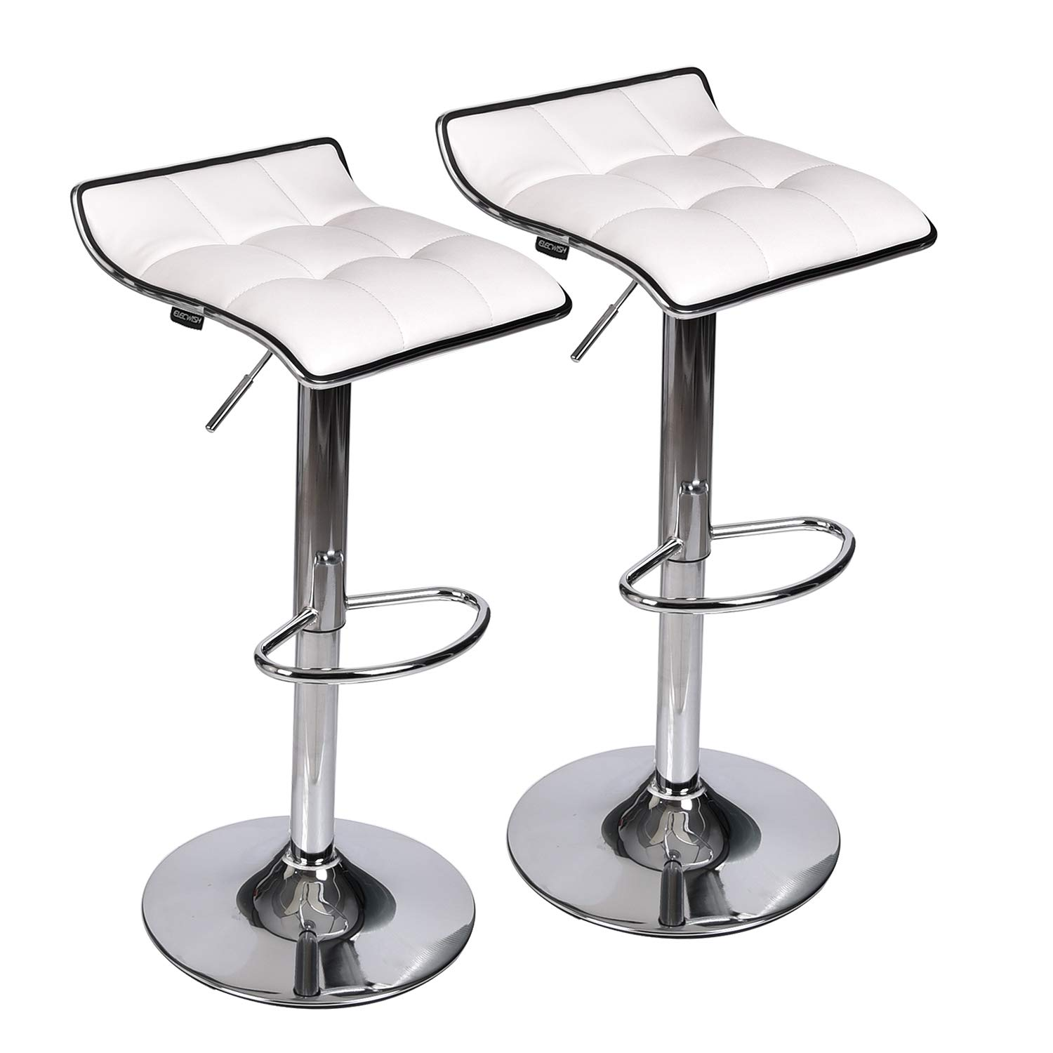 Set of 2 Adjustable Swivel Gas Lift Bar Stools, PU Leather with Chrome Base, White by PULUOMIS