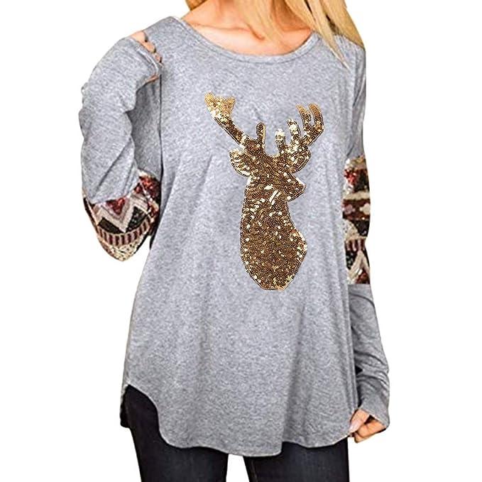 BaZhaHei-Navidad, Elk Head Lentejuelas Imprimir Blusa Camiseta Tops para Mujer del Moda Mujer