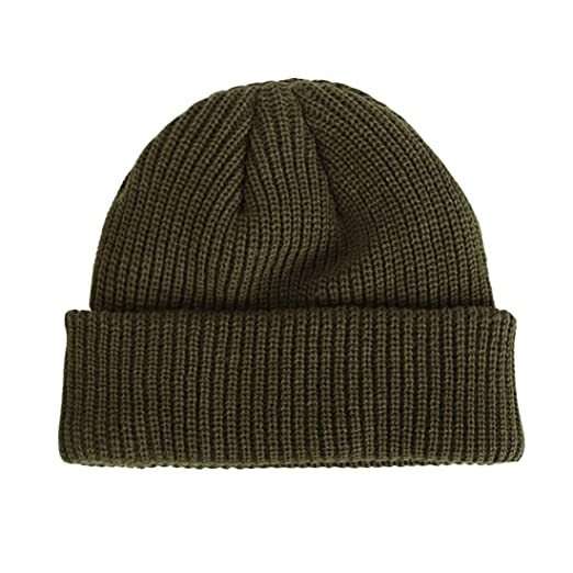 e986e55075ee68 Ez-sofei Men's Retro Knit Rolled Cuff Skull Caps Brimless Beanie Hat (Army  Green) at Amazon Men's Clothing store: