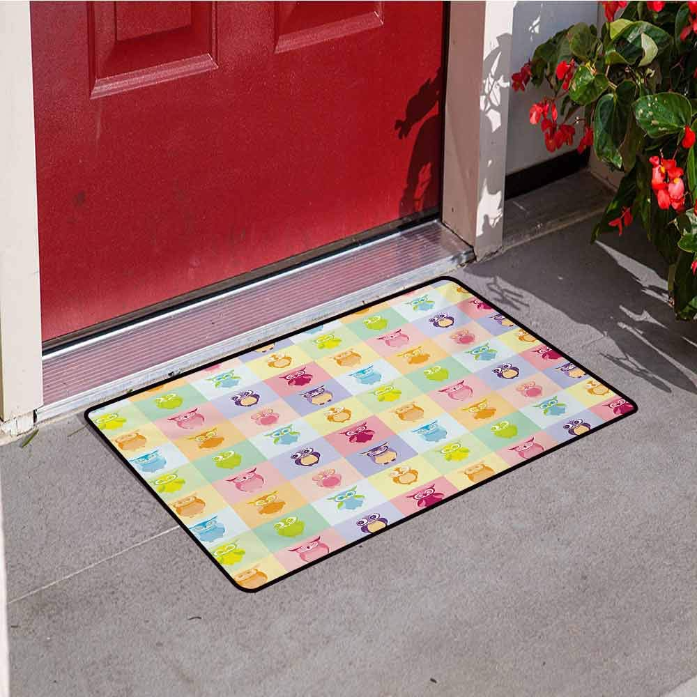 Jinguizi Kids Universal Door mat Cartoon Cute Owls Multicolor Fun Animal Love Childrens Art Nursery Play Birds Door mat Floor Decoration W31.5 x L47.2 Inch Purple Yellow Pink