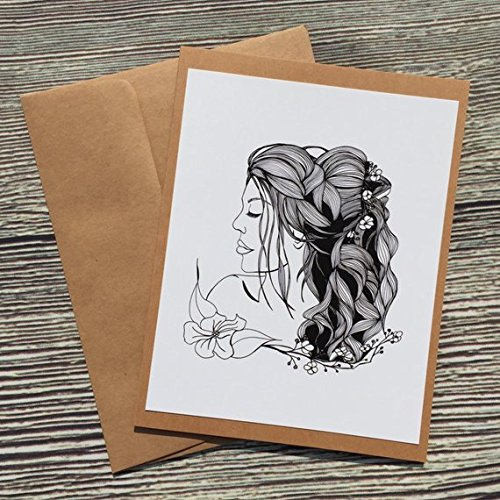 Bride of Spring - Bridal Inspired Ink Drawing Print - Kraft Note Card Art Nouveau Wedding Invitations