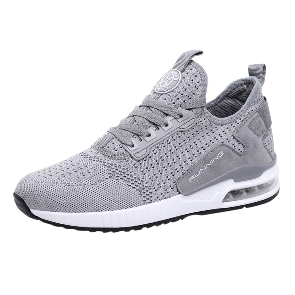 Couple Men Women Casual Walking Sneakers Breathable Slip On Mesh Lace Up Lightweight Outdoor Sport Shoes (US:9, Gray)