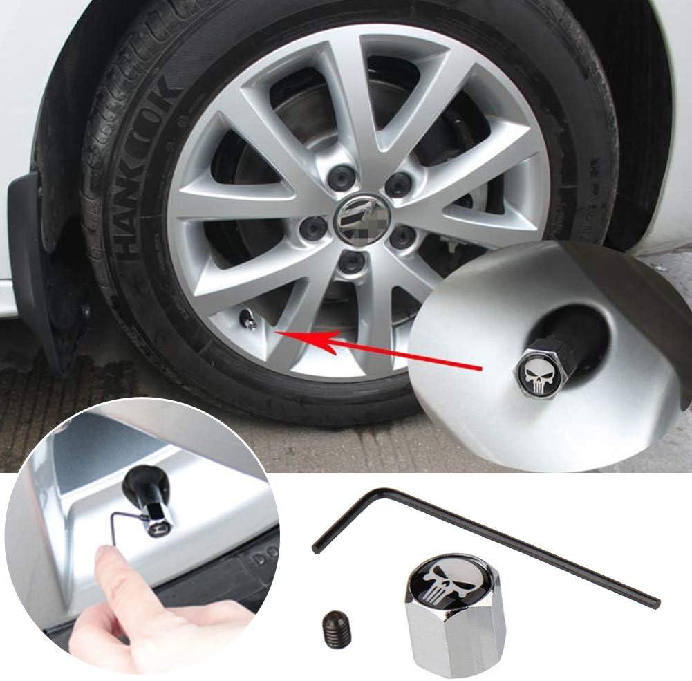EQLEF/® 8Pcs Anti-theft Skull Tire Tyre Wheel Car Auto Caps Valves Dust Stem Cover