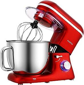 Aucma Stand Mixer,7.4QT 6-Speed Tilt-Head Food Mixer, Electric Kitchen Mixer with Dough Hook, Wire Whip & Beater