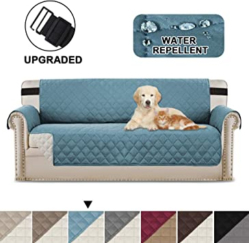 Image ofBellaHills Fundas de sofá Fundas de sofá de 3 plazas Fundas de Protector de Muebles Color Reversible (3 plazas, Azul/Beige)