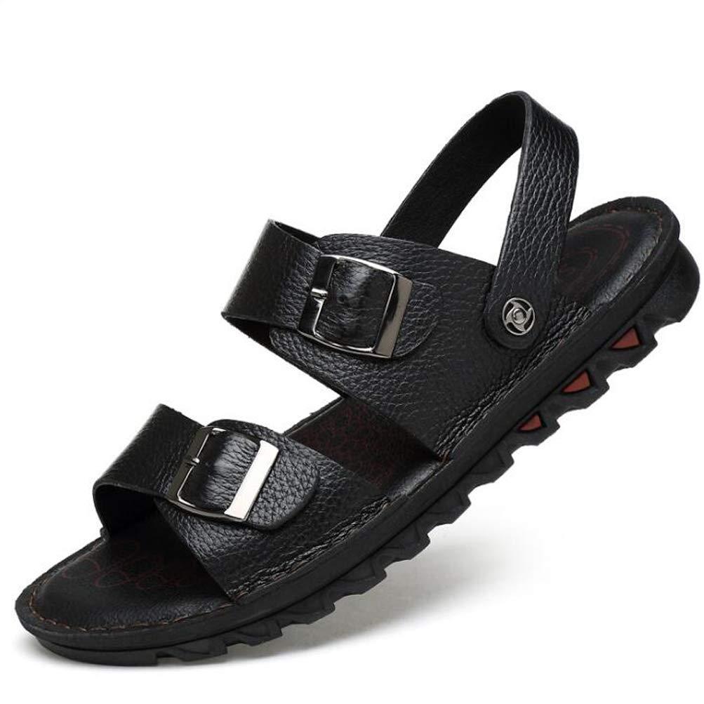 YWNC Sandalias De Cuero De Los Hombres Y Zapatillas Sandalias De Fondo Suave Piel De Vaca Nuevos Zapatos De Gran Tamaño,Black,47 47|Black