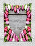 Ambesonne Love Decor Tapestry, Frame Fresh Tulips Arranged on Wooden Table Country Nature Valentines Print, Bedroom Living Room Dorm Decor, 40 W x 60 L inches,