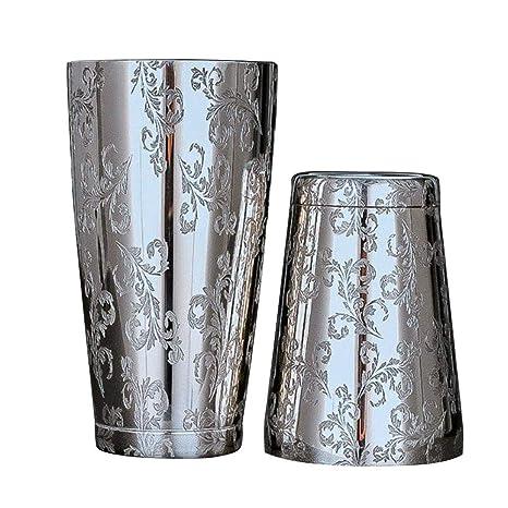 luckything Coctelera de Acero Inoxidable 2 Piezas de Grabado diseños Boston Shaker Cup para Bartenders Profesionales Amantes de cócteles caseros