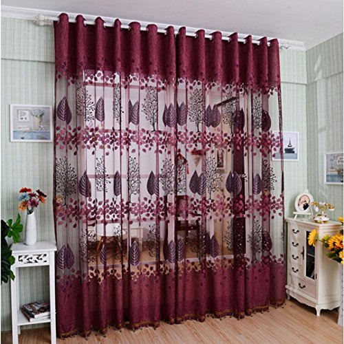 Binmer(TM) Window Curtains Leaf Hollow Window Screens Door Balcony Curtain Panel Sheer Cover (Red)