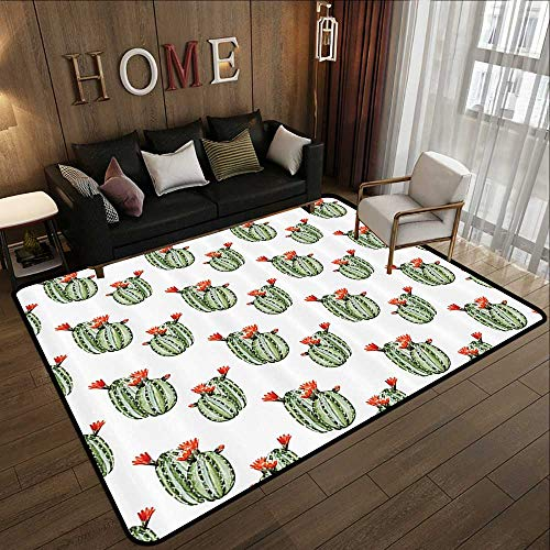 Throw Rugs,Cactus Decor,Cactus with Spikes and Red Flowers Mexican Hot Desert Vintage Image Art,Green and Orange 59