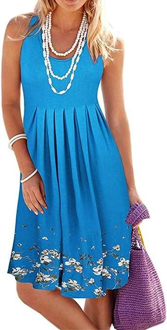 MERICAL letnia sukienka damska, długość do kolan, letnia sukienka bez rękawÓw, wieczorowa sukienka plażowa, krÓtka sukienka: Odzież