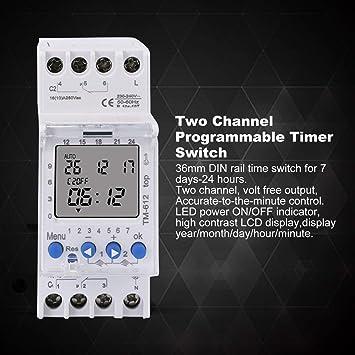Flushzing Minuterie num/érique Interrupteur Prise minuterie Sortie 230 V 50 Hz 12//24 Heure programmable Timing Socket EU Plug France Standard