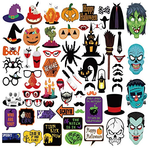 Mengar 62Pcs Halloween Party Photo Booth Props Set