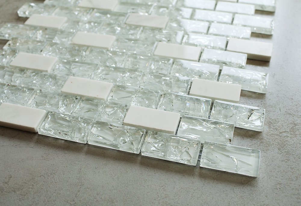 Super White Cleft Glass & Bianco Marble Glass Mosaic Tile - Green, Blue & Beige 1''x2'' Glass Tile