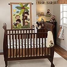 3 Piece Brown Green Yellow Monkey Baby Crib Bedding Set, Animal Themed Newborn Nursery Bed Set Infant Child Animated Jungle Safari Birds Trees Banana Blanket Quilt Bold Border, Polyester Cotton