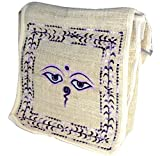 Pure HEMP Embroidery Buddha Eyes Shoulder Bag