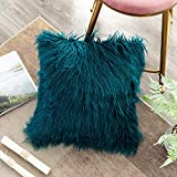 OJIA Deluxe Home Decorative Super Soft Plush Mongolian Faux Fur Throw Pillow Cover Cushion Case (24 x 24 Inch, Teal Blue)
