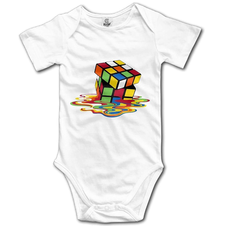 HFJFJSZ Rubik's Cube Short Sleeve Baby Bodysuit Onesies